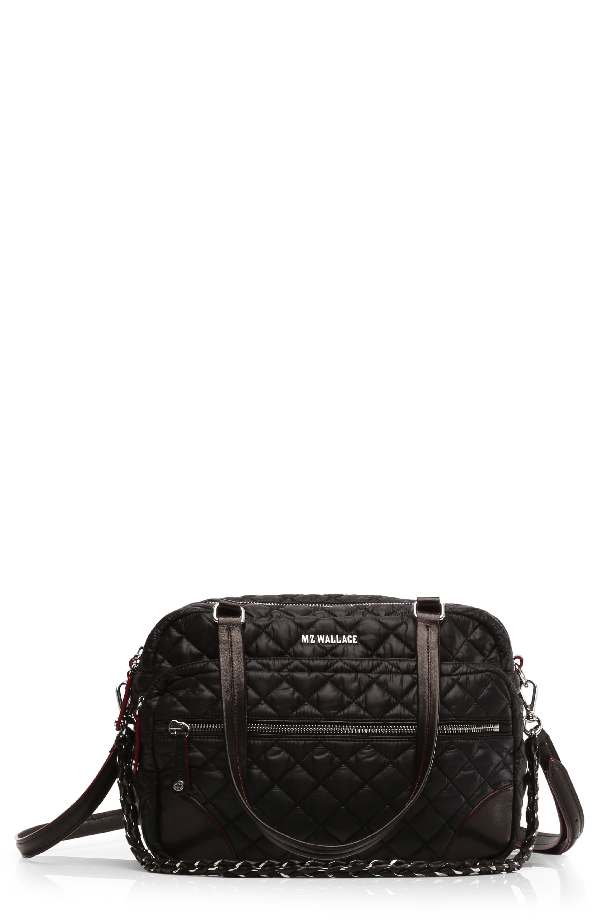 Mz Wallace Quilted Crosby Satchel In Black