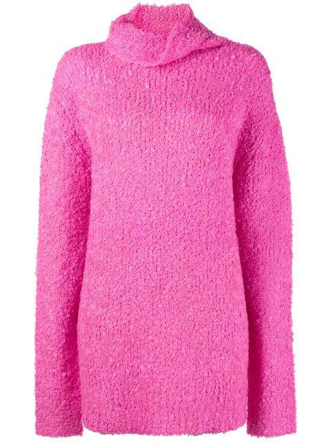 Sies Marjan Large Neck Knit Sweater In Pink/purple