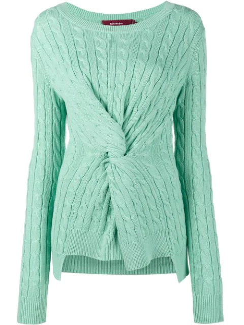 Sies Marjan Zoe Decorative-knot Cable-knit Cotton Sweater In Green