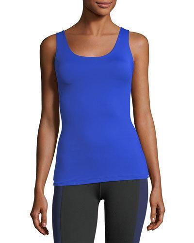 Monreal London Victory Scoop-neck Fitted Performance Tank In Blue