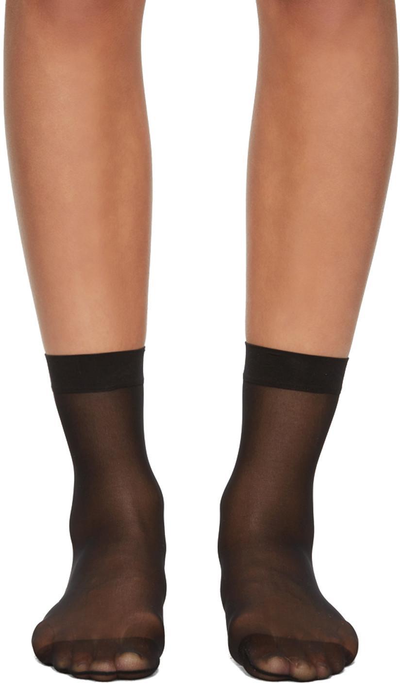 Wolford Black Individual 10 Socks In 7005 Black