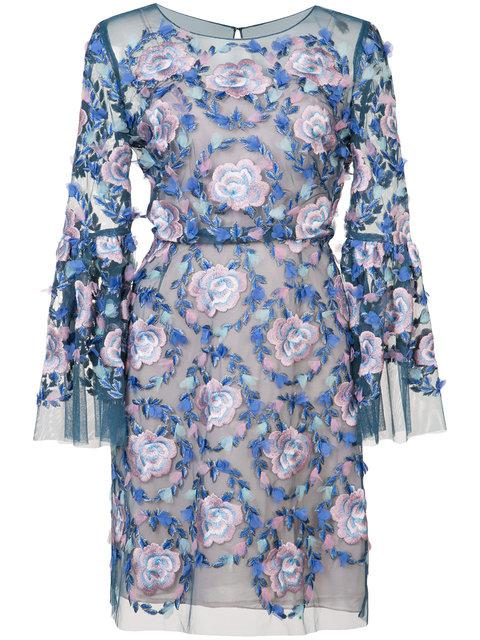 Marchesa Notte Floral-embroidered Dress - Blue