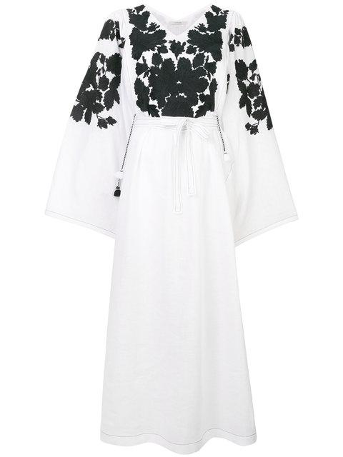 Vita Kin Summer Garden Embroidered Linen Kimono-sleeve Dress In White/black