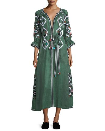 Vita Kin Fatima's Eye Diamond-embroidered Belted Linen Dress In Green Pattern