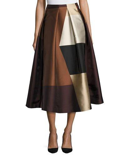 Co Pleated Satin Tea Length Skirt In Brown Pattern