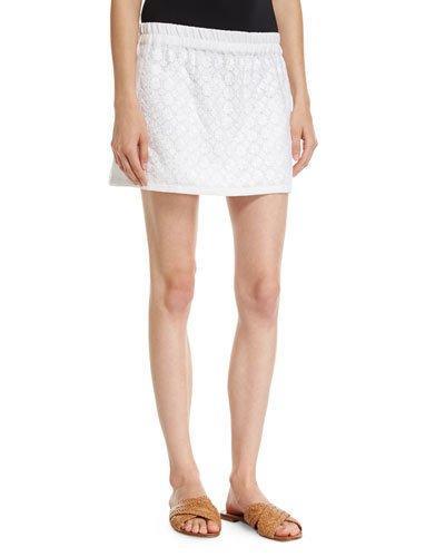 Vita Kin Strawberry Field Embroidered Linen Miniskirt In White