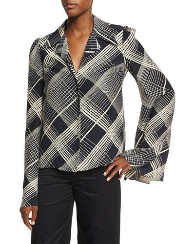Co Plaid Hammered Silk Bell-sleeve Blouse, Black/ivory In Black Pattern