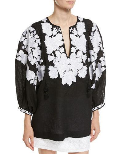 Vita Kin Floral-embroidered Puff-sleeve Linen Blouse In Black/white