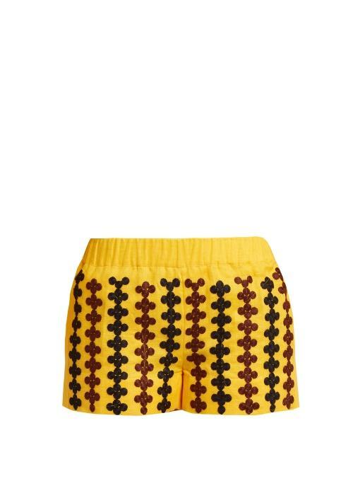 Vita Kin Riverbank Embroidered Lightweight Linen Shorts In Yellow Multi