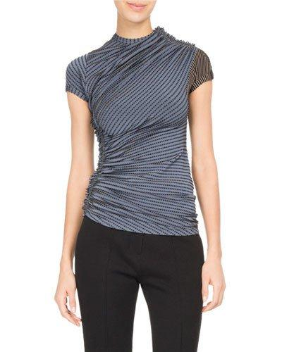 Atlein Dotted-stripe Ruched Jersey Top In Blue Pattern