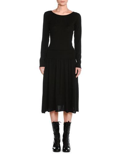 Tomas Maier Cashmere Drop-waist Sweater Dress In Black