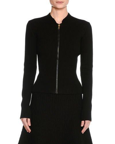 Tomas Maier Quilted Zip-front Cardigan In Black