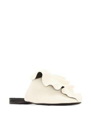 Mercedes Castillo 'ginerva' Ruffle Overlay Nappa Leather Slides In Ivory
