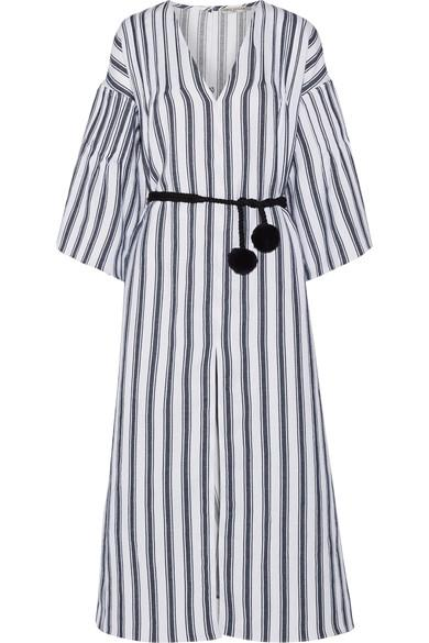 Three Graces London Elvira Striped Linen And Cotton-blend Kaftan In Navy