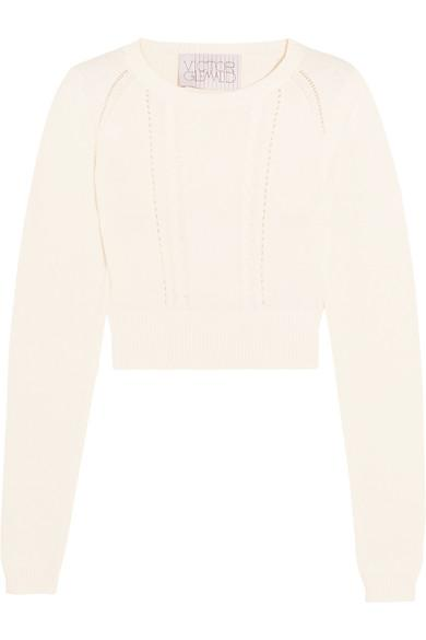 Victor Glemaud Cropped Open-back Cotton And Cashmere-blend Sweater In White