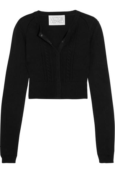 Victor Glemaud Cropped Open-back Cotton And Cashmere-blend Cardigan In Black