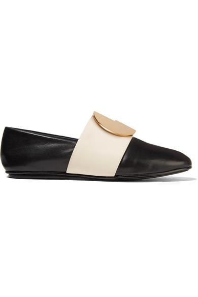 Mercedes Castillo Caia Embellished Two-tone Leather Loafers