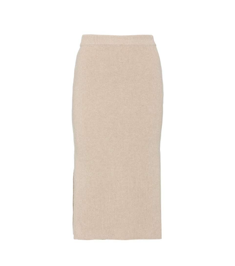 Agnona Slit Wool And Cashmere Skirt
