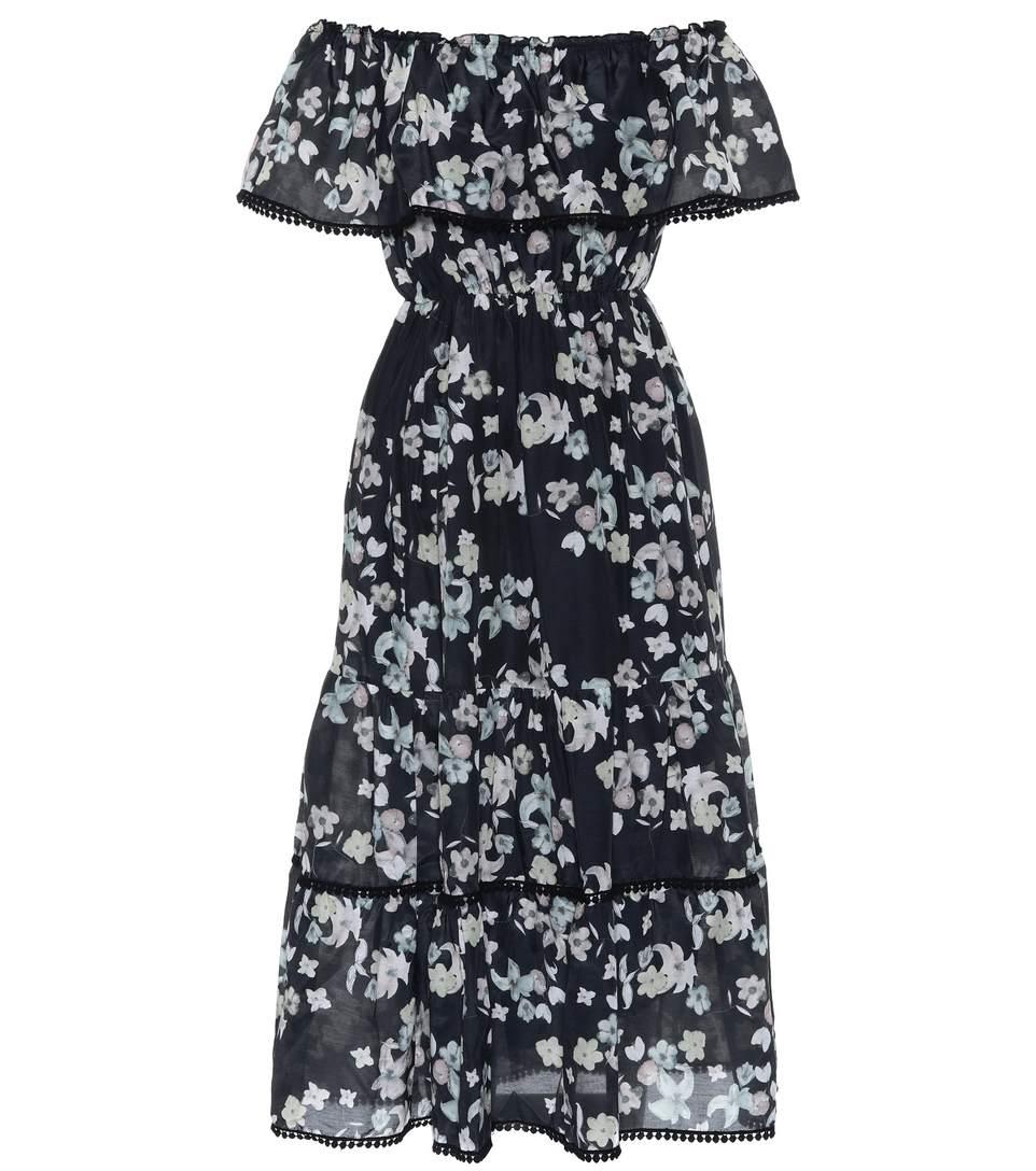 Athena Procopiou Wild Grace Off-the-shoulder Cotton-blend Dress In Llack