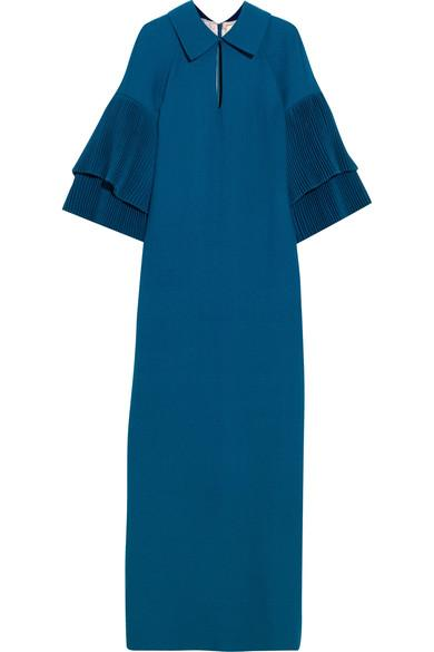 Merchant Archive Pleated Wool-crepe Gown