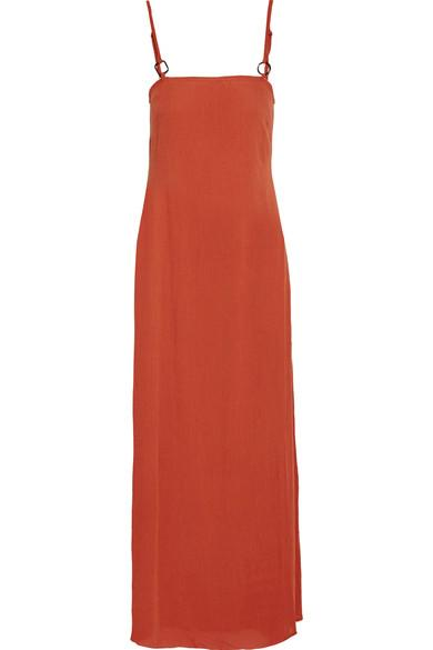Solid & Striped Staud Calico Crinkled Gauze Maxi Dress In Brick