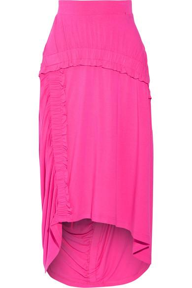 Preen Line Sandy Ruffled Stretch-jersey Midi Skirt In Bright Pink