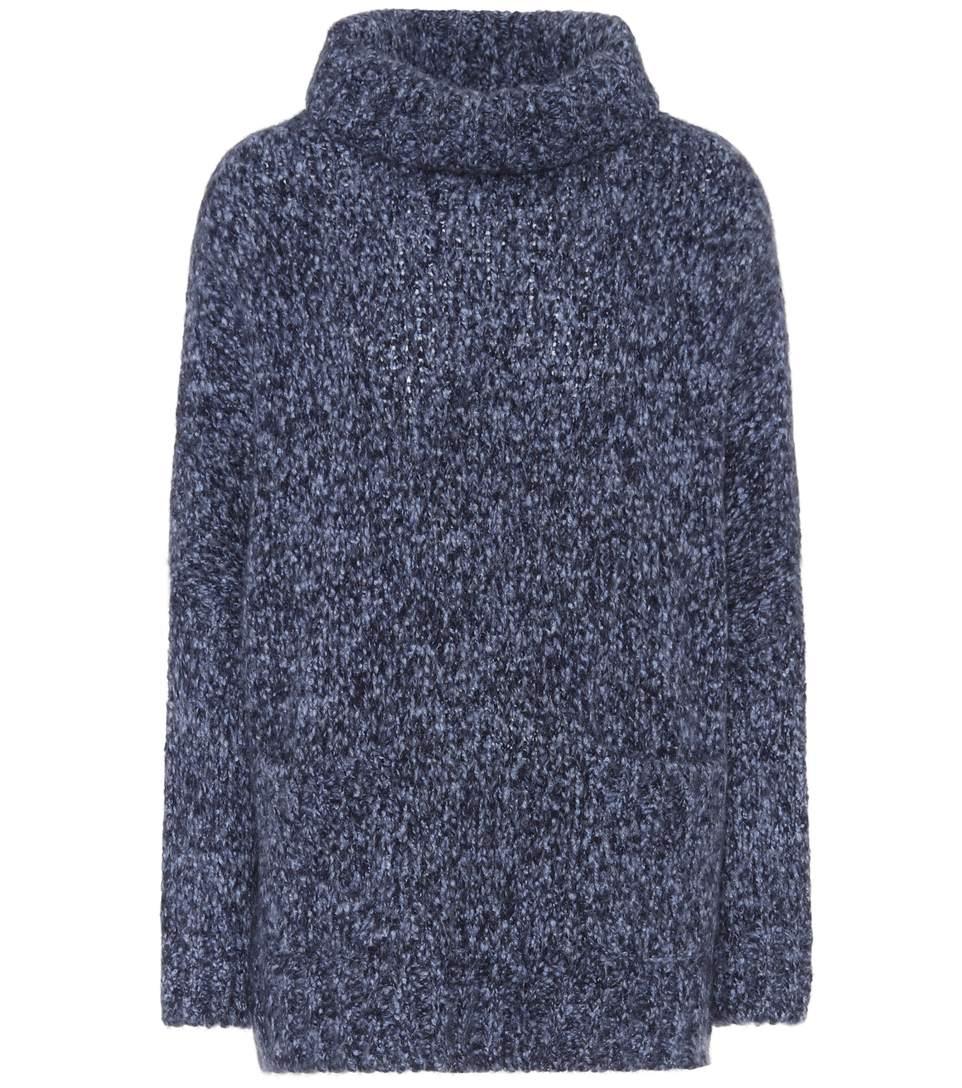 Loro Piana Cashmere And Silk Turtleneck Sweater In Lleu