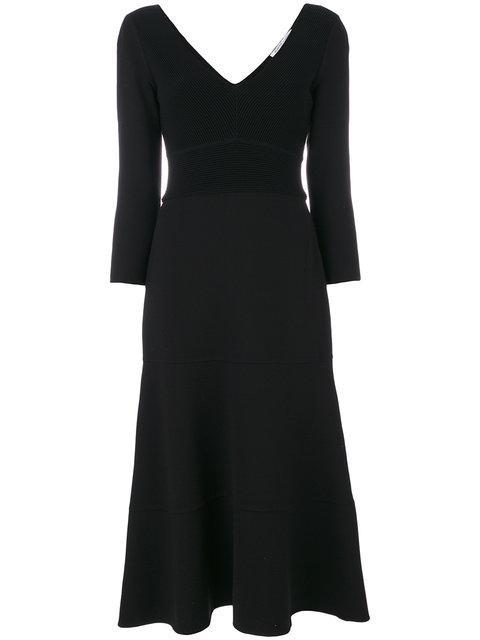 Agnona Lana Double Stretch Knit Round Circle Midi Dress In Black