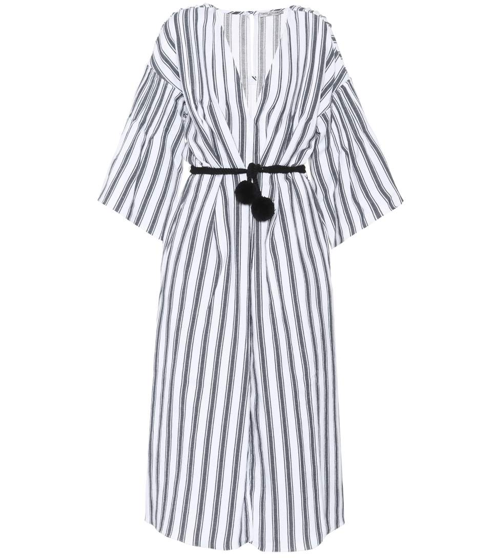 Three Graces London Linen And Cotton Dress In White