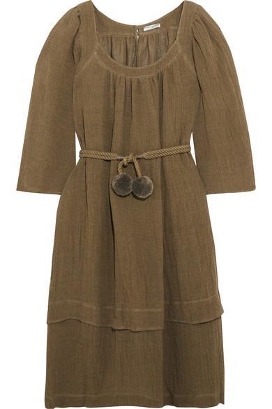 Three Graces London Ilara Pompom-embellished Linen-blend Dress In Army Green