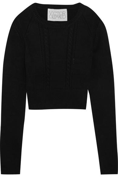 Victor Glemaud Cropped Open-back Cotton And Cashmere-blend Sweater In Black