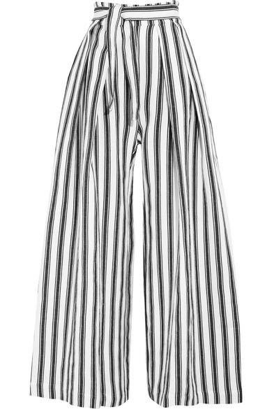 Three Graces London Rosalinda Striped Linen And Cotton-blend Wide-leg Pants In Blue Stripe