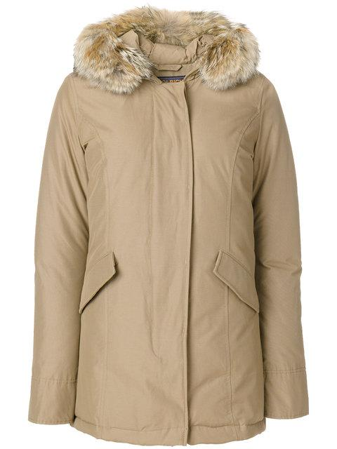 Woolrich Feather Hooded Coat In Neutrals