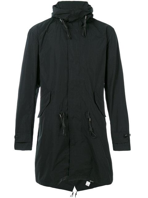 Closed Drawstring Waist Hooded Coat - Black