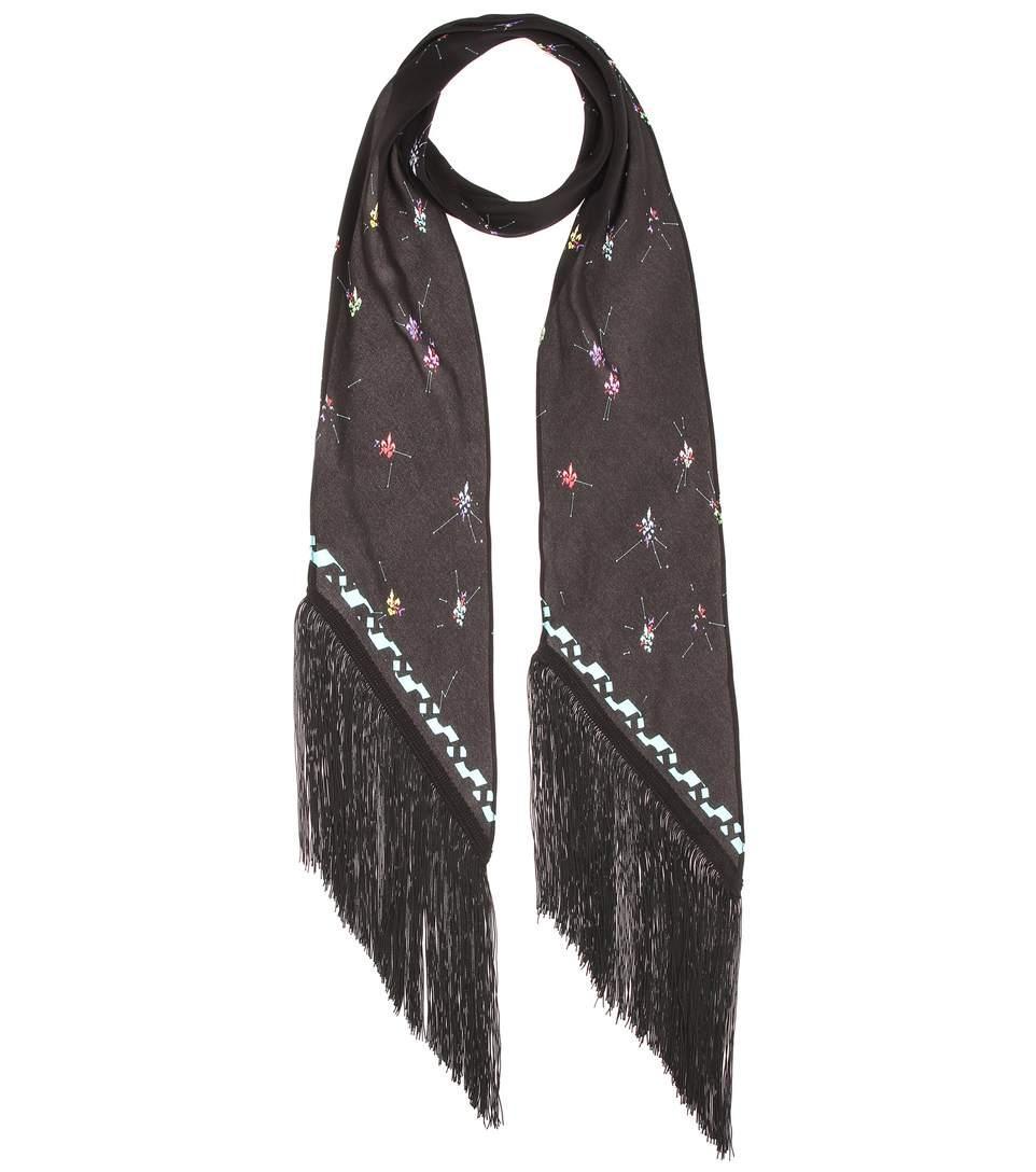 Rockins Fleur De Pop Classic Skinny Silk Scarf In Black