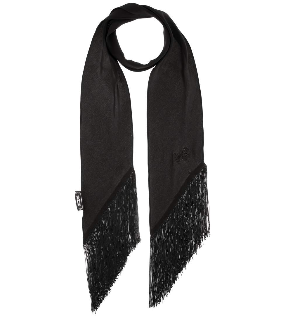 Rockins Plain Classic Skinny Fringe Silk Scarf In Black