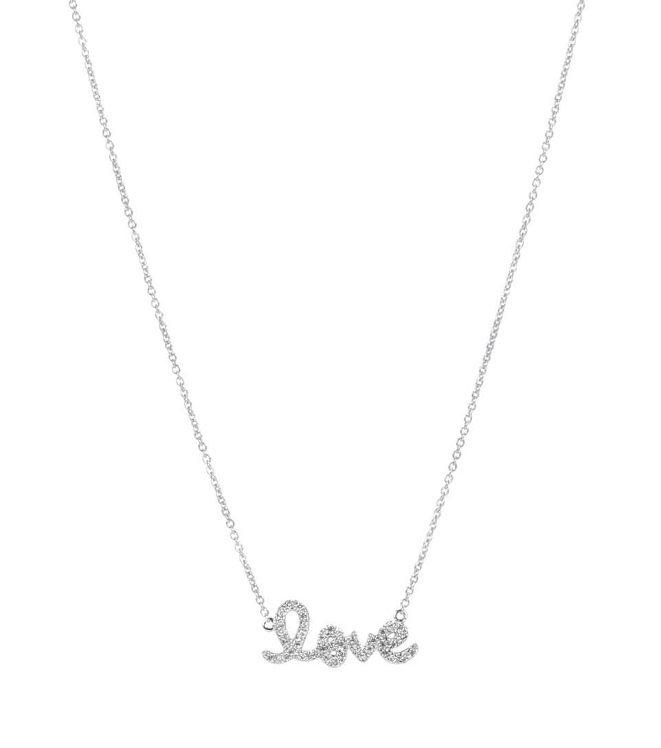 Sydney Evan Small Love 14 Kt White Gold And Diamond Necklace In No