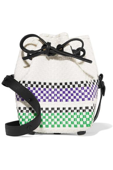 Truss Mini Striped Woven Raffia-effect Bucket Bag