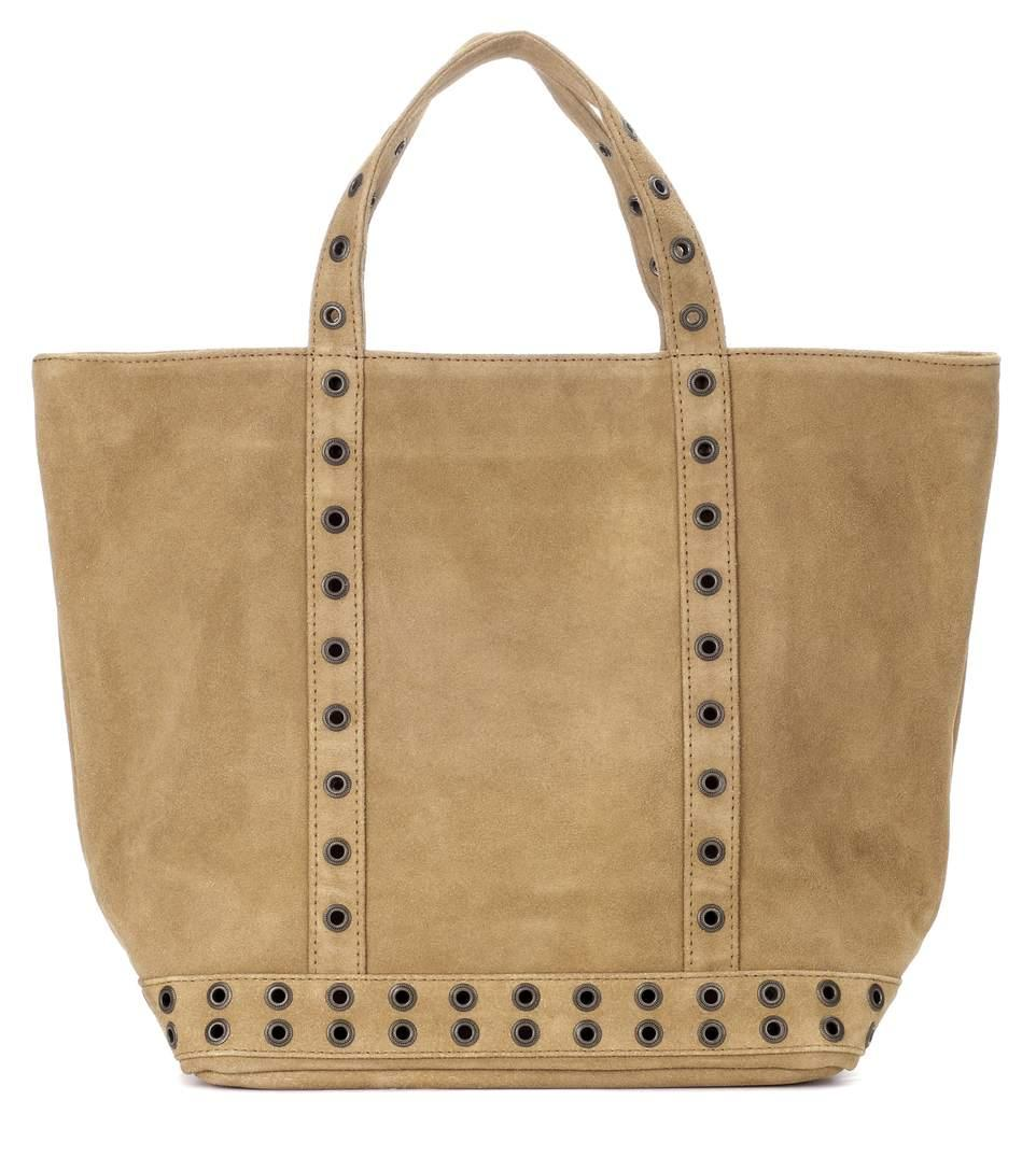 Vanessa Bruno Cabas Medium Embellished Suede Shopper In Thym