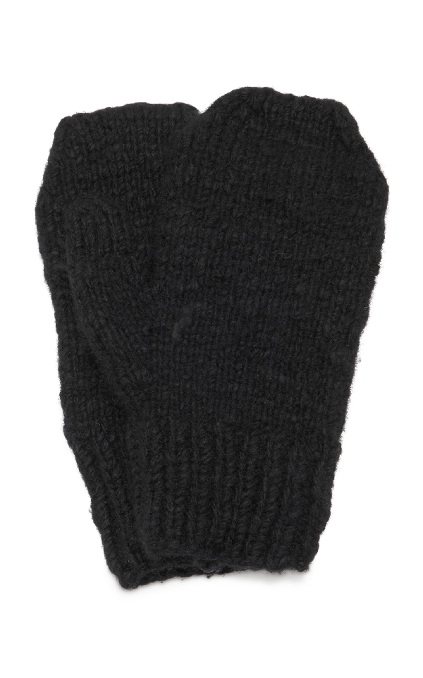 The Elder Statesman Cashmere Mittens In Black