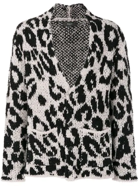 Amiri Snow Leopard BouclÉ-knit Wool-blend Cardigan - Ivory In Black