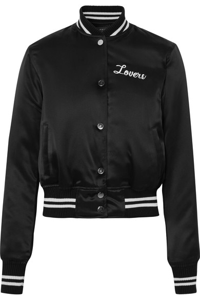 4e1744c3901 Amiri Lovers Crystal-Embellished Embroidered Silk-Satin Bomber Jacket In  Black