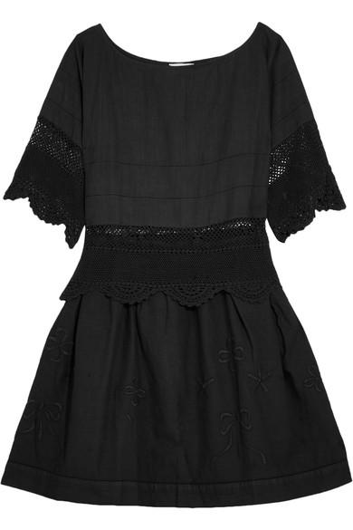 Place Nationale Rapahel Crochet-trimmed Embroidered Cotton-voile Mini Dress In Black