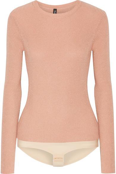 Tuxe Pacesetter Metallic Ribbed-knit Bodysuit