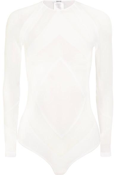 Wolford Rhomb Paneled Stretch-jersey Bodysuit In White