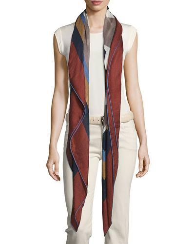 Loro Piana Abstract Portrait Soffio Scarf In Brown/gray