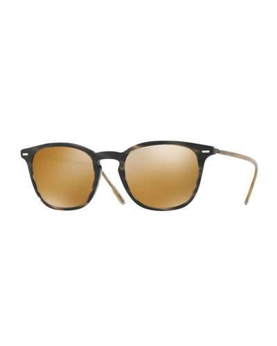 Oliver Peoples Heaton Square Acetate Sunglasses, Blue Cocobolo/amber Goldtone In Blue/black