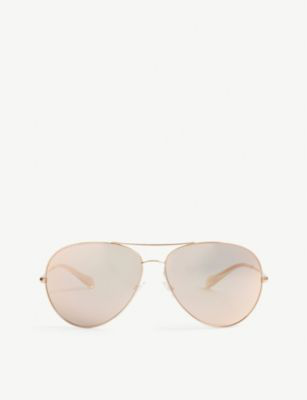 Oliver Peoples Rockmore Metal Oversized Pilot Sunglasses, Brushed Silver/yellow Wash In Pink