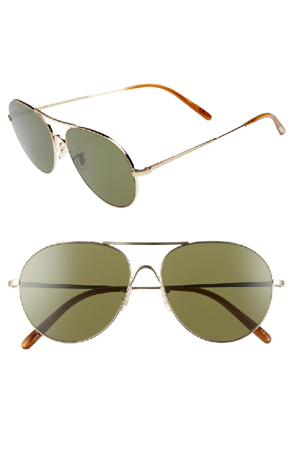 Oliver Peoples Men's Rockmore Oversized Brow Bar Aviator Sunglasses, 58mm In Gold