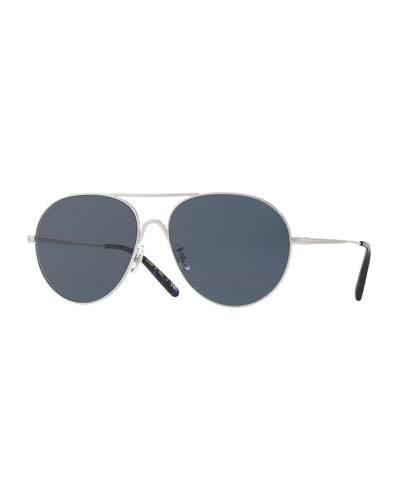 Oliver Peoples Rockmore Metal Oversized Pilot Sunglasses, Brushed Silver/blue In Blue Pattern